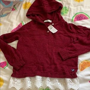 NWT Abercrombie kids hooded lace sweater